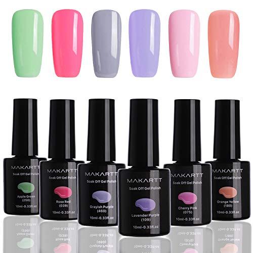Makartt Gel Nail Polish Kit Summer Sweetheart Color Series 6PCS 10ML Soak Off UV LED Nail Gel Polish P-03