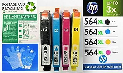 HP 564XL Printer Inkjet Cartridges Set of 4 (Black, Cyan, Magenta & Yellow) Color Printing Ink Photosmart Deskjet Inkjet Copy
