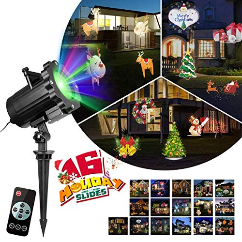 - KINGWILL Christmas Projector Lights 16 Patterns Landscape Light Projectior Outdoor Holiday Projector Snowflake with Wireless Remote for Christmas Decorations, Thanksgiving Decor, New Year