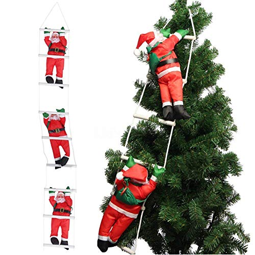 Orgrimmar 3 Santa Claus Climbing on Rope Ladder Christmas Ornament for Christmas Tree Party Home Door Wall Decoration]()