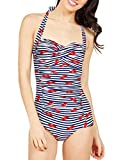 Blooming Jelly Women's Vintage One Piece Swimsuit Halter Lip Printed Swimwear Ruched Striped Tummy Control Bathing Suit