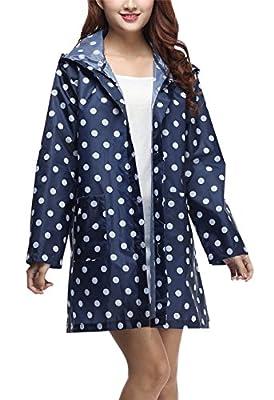 Gihuo Women's Packable Printed Waterproof Raincoat Hooded Rain Poncho