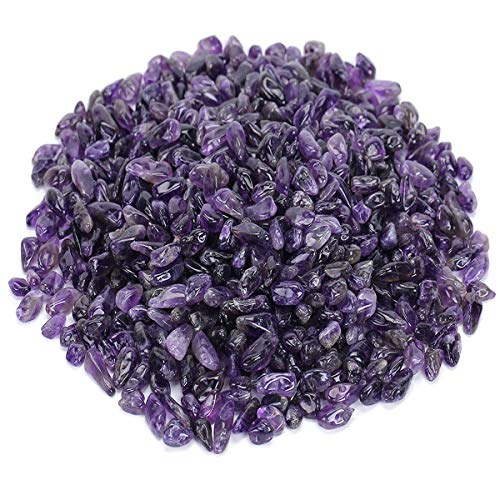 favoramulet Deep Purple Amethyst Tumbled Stone Chips, Polished Crushed Healing Crystal Quartz Pieces Vase Filler 1 LB ()
