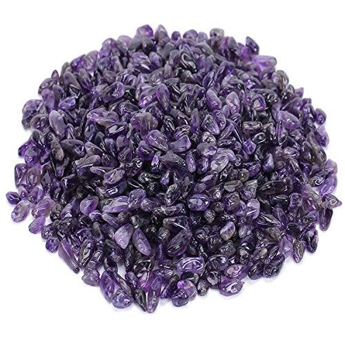 favoramulet Deep Purple Amethyst Tumbled Stone Chips, Polished Crushed Healing Crystal Quartz Pieces Vase Filler 1 LB