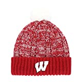 NCAA Wisconsin Badgers Women's Brilyn OTS Cuff Knit Cap with Pom, Red, Women's