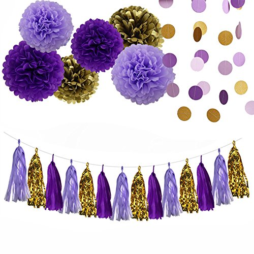 Sogorge Purple Lavender Glitter Gold Baby Shower Tissue Paper Pom Pom Paper Tassel Garland First Birthday Decorations Purple Bridal Shower Decorations Snow or Sea Theme Party Decor