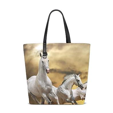 ae281590e51 Amazon.com: LORVIES Women Horse Running Grass Tote Bag Purse PU ...