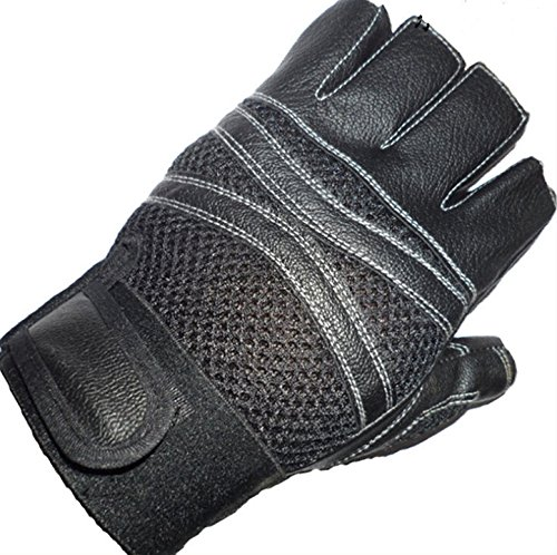 (Dealzip Inc Pretty Cycling Gloves, Cycling Gloves Black Half Finger Bike Motorcycle Motorbike Racing Sport Cycling Fitness Gym Weight Lifting Exercise Man PU Leather)