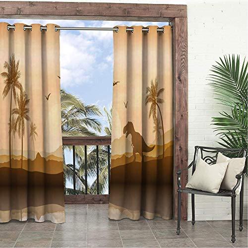 (Garden Waterproof Curtains Dinosaur Silhouette Monochrome Ancient Landscape Jurrasic Scenery Ginger Caramel Pale Peach Champagne doorways Grommets Decor Curtains 108 by 72 inch )