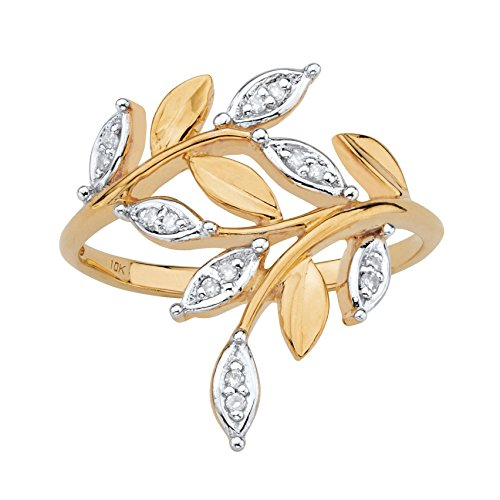 - White Diamond Accent Solid 10k Yellow Gold Marquise-Shaped Bypass Leaf Ring