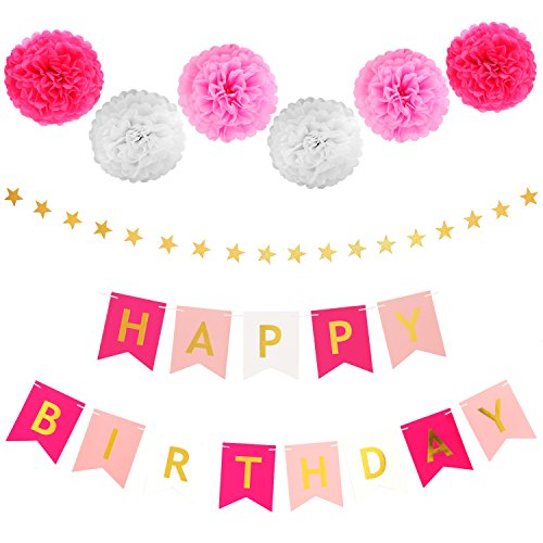 LyButty Happy Birthday Banner Decorations with Tissue Paper Pom Poms Stars Garland