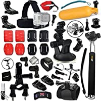 Xtech Complete GOPRO ACCESSORIES Kit for GOPRO HERO4 SESSION, HERO4 Hero 4 3+ 3 2 1 Hero 4 Black Hero 4 Silver Hero 3 White Hero 3 Silver Hero 3 Black Hero 960 Surf Hero Includes: Suction Cup Car Mount + Head Strap Mount + Extendable Monopod Pole + Bike Handlebar Mount + Helmet Mount + Floating Sealed Bobber + Camera Wrist Mount + 2 J-Hooks + 2 Curved Adhesive Stickers + Curved Surface Mounts + MORE