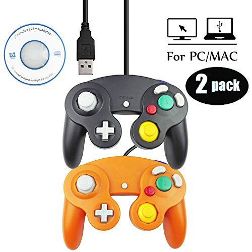 Price comparison product image Mekela 2 Packs 5.8 feet Classic USB wired NGC Controller Gamepad resembles gamecube for Windows PC MAC (USB Black and Orange)