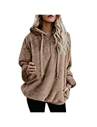 Realdo Womens Hooded Sweatshirt Winter Warm Wool Zipper Pockets Coat