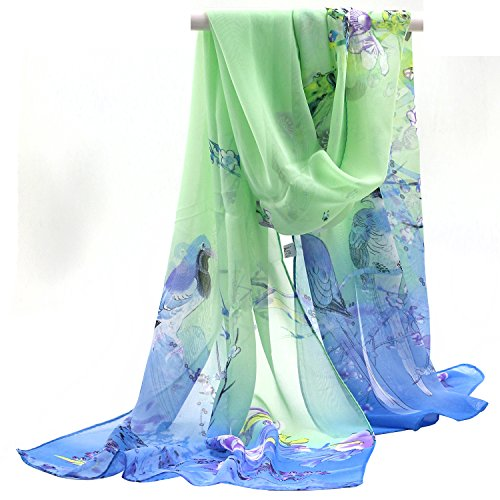 Sanwood Ladies Chiffon Scrawl Flower Printed Wrap Scarf (Blue+Green)