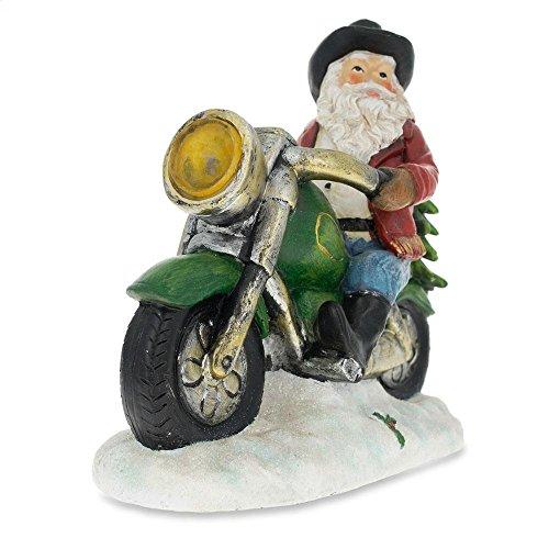 BestPysanky Western Cowboy Santa on a Motorcycle LED Light Figurine 8.5 - Santa On Motorcycle