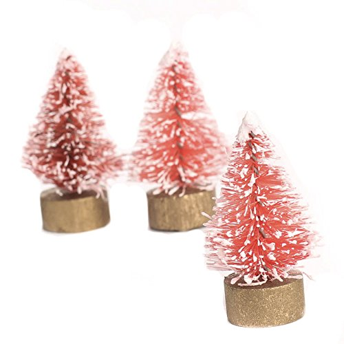 Pink Bottle Brush (Package of 18 Miniature Frosted Pink Bottle Brush Trees for Holiday Crafting, Decorating, and)