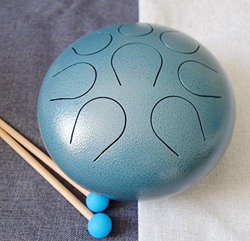 CVNC Steel Tongue Percussion Drum 8 Inch 8 Note CDEFGABC Dark Blue Textured Color