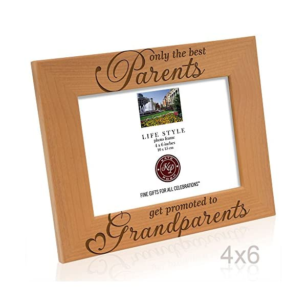 Grandma Gifts Engraved Natural Wood Photo Frame Kate Posh Only the Best Parents get Promoted to Grandparents Picture Frame Christmas Gifts for Grandparents 5x7-Vertical Grandpa Gifts