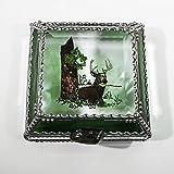 Buck, Deer, Stained Glass Jewelry Box, Presentation Box, Keepsake Box, Glass Jewels, Swarovski Crystals, USA Made