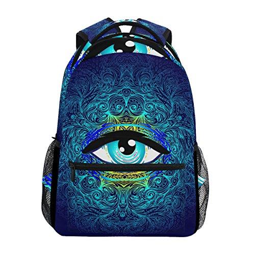 U LIFE Backpack School Bags Laptop Casual Bag for Boys Girls Kids Men Women Sacred Eyes Halloween Mandala Vintage]()