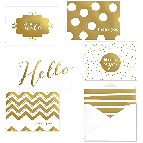 Correspondence Set (Gold Foil All Occasion Note Card Assortment Pack - Set of 24 cards - 6 designs, blank inside - with white envelopes)