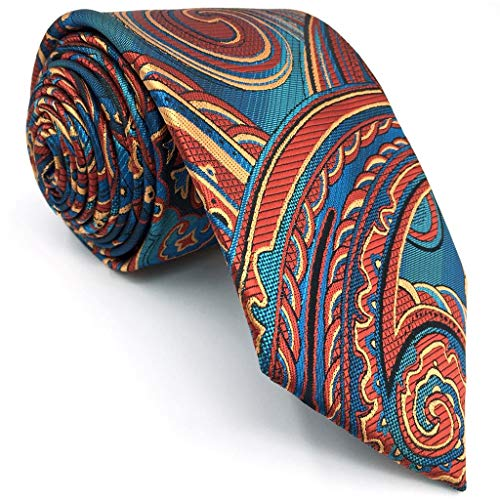 - SHLAX&WING Ties for Men Geometric Multicolored Silk Necktie Extra Long 63 inches