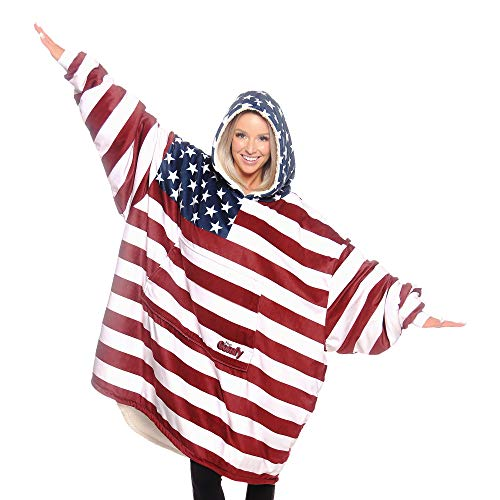 THE COMFY: Original Blanket Sweatshirt, Seen on Shark Tank, Invented by 2 Brothers, American Flag, Warm, Soft Cozy, Oversized, Large, Patriotic, Red, White, Blue, 4th of July, Wearable Sherpa Hoodie (Snuggie Flag)
