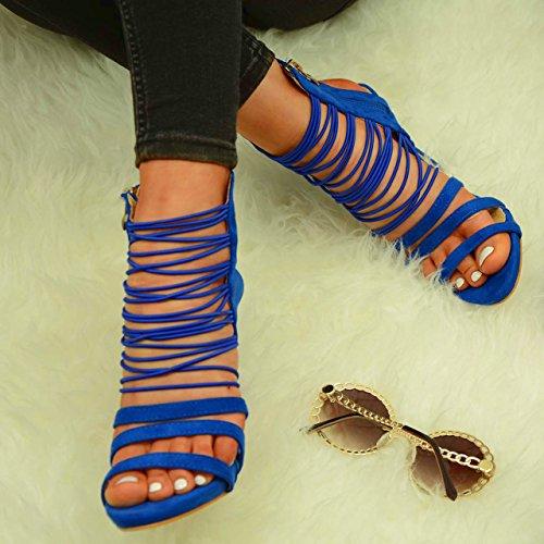 Bleu cheville Cucu bleu Bride femme de Fashion wCwxq6Pp