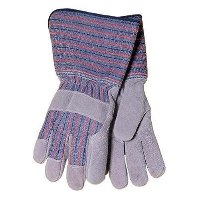 Tillman 1509 Economy Cowhide/Canvas Back Work Gloves, Long Cuff, Large Pkg.12