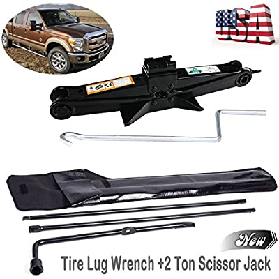 Heavy Duty Tire Lug Wrench for Ford F250 F350 F450 F550 03-07 and 2 Ton Scissor Jack Chromed Crank with Speed Handle - Spare Tire Tool