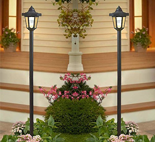 "Set of Two 58"" Solar Powered Lighted Lamp Post Yard Outdoor"