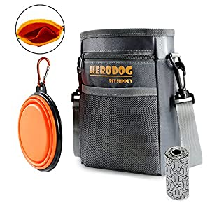 Hero Dog Treat Training Pouch Bag(Small Large Pets) - Dual Compartments Carry Toy Kibble,Treats - with Poop Bag,Collapsible Bowl - Build-in Waste Bag Dispenser Grey 47