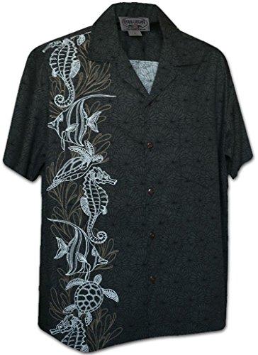 Oceanarium Panel Tropical Men's Shirt Charcoal 2XL (Shirt Cotton Aloha Mens)