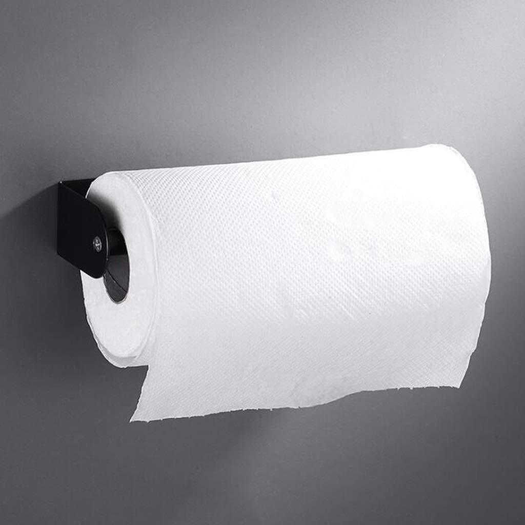 Portarrollos para papel higiénico Herramientas de limpieza Tamaño : 95 * 45 * 255mm Haute qualité Portarrollos De Papel Higiénico Negro 304 De Acero Inoxidable Creativo Sin Perforaciones Toallero De Papel Accessoires de salle de bain