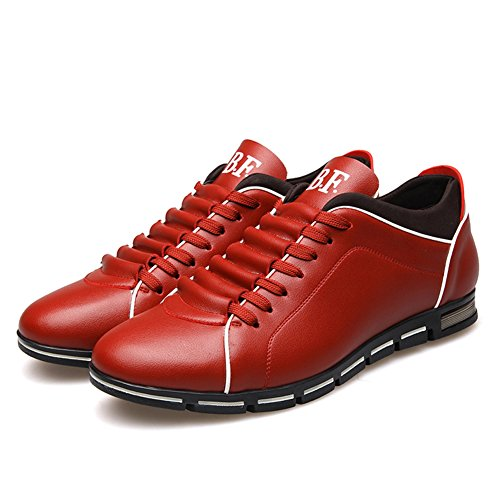 Red XiaoYouYu Casual Leather Sneakers up Top Low Lace Men's Z1UwZqa