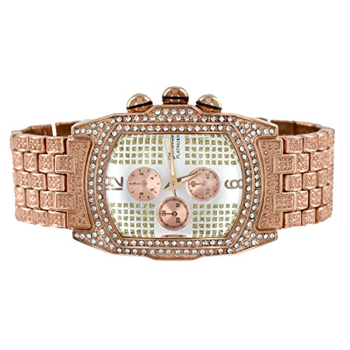 Rose Gold Finish Watch Rectangular Face 3 Time Zone Look ...