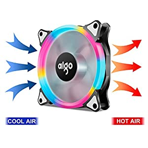 Aigo Halo LED Ring Fan 120mm Silent Sleeve Bearing PC CPU Cooling Neon Quite Clear Case Fan Mod 4 Pin/3 Pin for Computer Cases CPU Coolers and Radiators