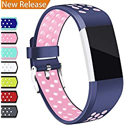 Hotodeal For Fitbit Charge 2 Band, Classic Soft TPU Adjustable Replacement Bands Fitness Sport Strap for Fitbit Charge 2, Small Large, Blue Pink