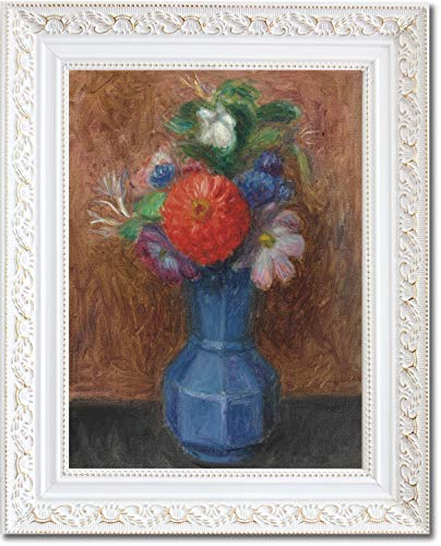 (Framed Canvas Print - Flowers in Blue Octagonal Vase - by William James Glackens )
