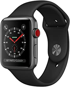 Apple SmrtWatc 12-42mm Watch Series 3 - GPS+Cellular - Space Gray Aluminum Case with Black Sport Band - 42mm