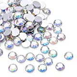1000Pcs Crystal AB Rhinestones, Clear Round Rhinestones for DIY Crafts, Phone, Nail Art, Jewelry Making, Clothes, Bag, Shoes, Wedding Decoration (10mm)