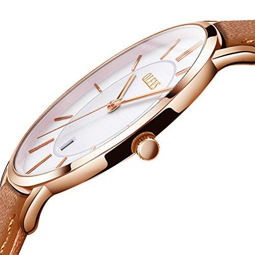 OLEVS Men Watch Top Brand Luxury Quartz Analog Date Wrist Watch Fashion Water Resistant Leather Strap Quartz Automatic Watches Male Clock Shock Resistant Wristwatch