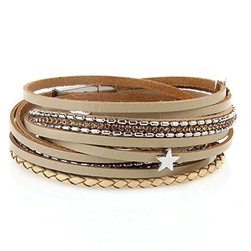 Cuff Magnetic (Jenia Women Star Multi-layer Leather Bracelet Braided Wrap Bangle Cuff Alloy Magnetic Clasp)