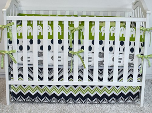 Green and Grey Elephants Crib bedding, bumpers, skirt, fitted sheet, safari theme by M&G Baby Glam