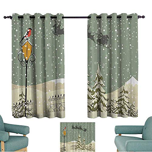 DILITECK Kids Room Curtains New Year Santa Clauss Flying Reindeer Christmas Green Beige White Tie Up Window Drapes Living Room W55 xL39