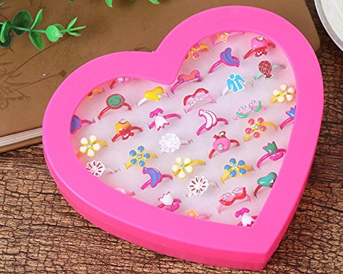 Zhahender Little Girls Accessory Jewellery Toy 36Pcs/Set Children's Joint Spray Paint Drop Ring Creative Cartoon Ring(Alloy Ring) by Zhahender