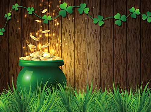 Leowefowa Vinyl 9X6FT Lucky Irish Shamrock Backdrop Green Clover Grassland Gloomy Wood Board Pot of Gold Happy St. Patrick's Day Photography Background Kids Adults Photo Studio Props