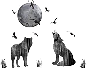 Wall Stickers Wolf and Moon Wall Decor Decal Art Animal Murals Removable PVC DIY Wall Decoration Paper Poster for Bedroom Kitchen Living Room Nursery Rooms Offices