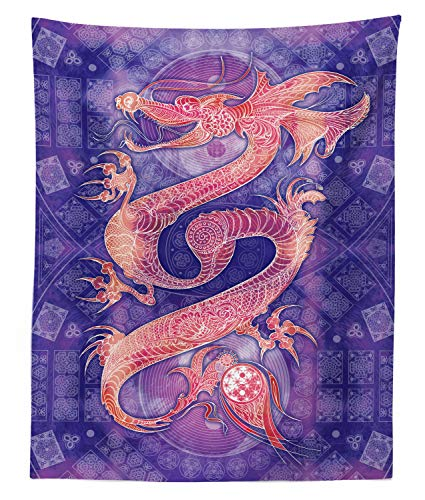 Lunarable Dragon Tapestry Twin Size, Chinese with Ying Yang Signs Patterns Arts Meditation Themed, Wall Hanging Bedspread Bed Cover Wall Decor, 68